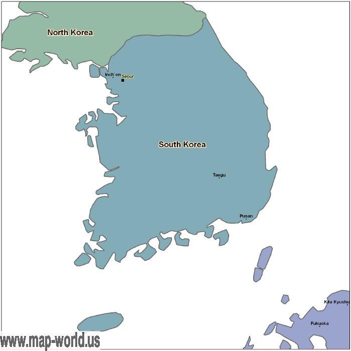 Map of South Korea South Korea Map World Map