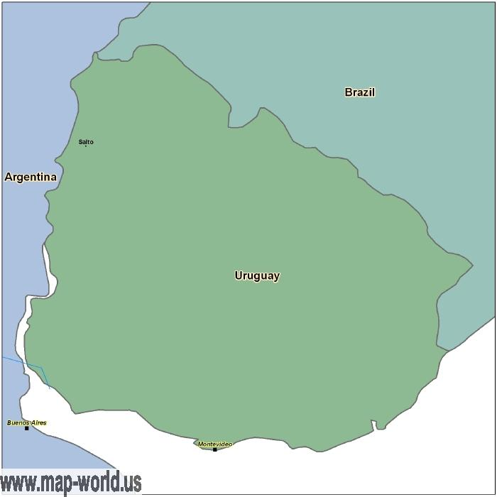 Map Of Uruguay Uruguay Map World Map